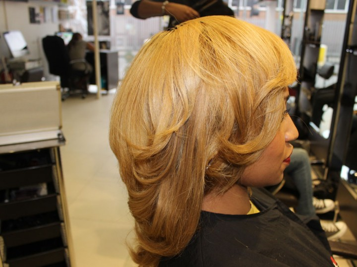 Salon Work: wash and finish with rows on natural hair